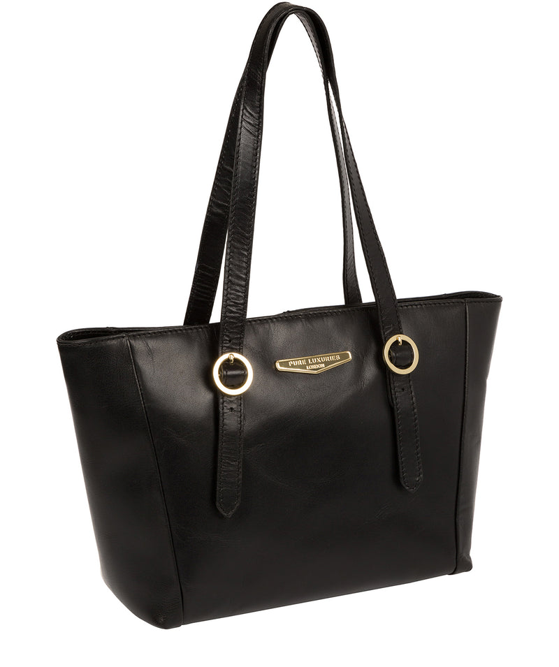 'Adelina' Black Leather Tote Bag image 5