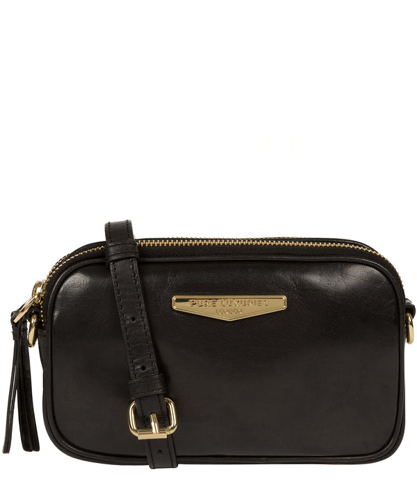 'Donatella' Black Leather Cross Body Bag image 1