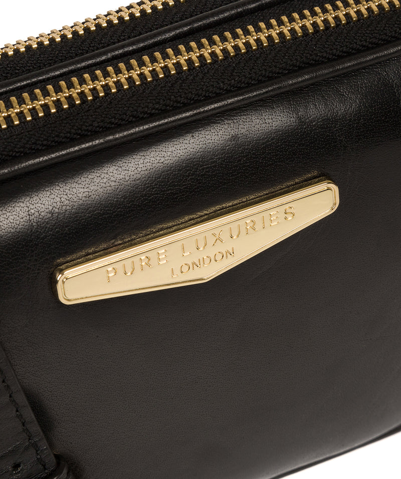 'Donatella' Black Leather Cross Body Bag image 4