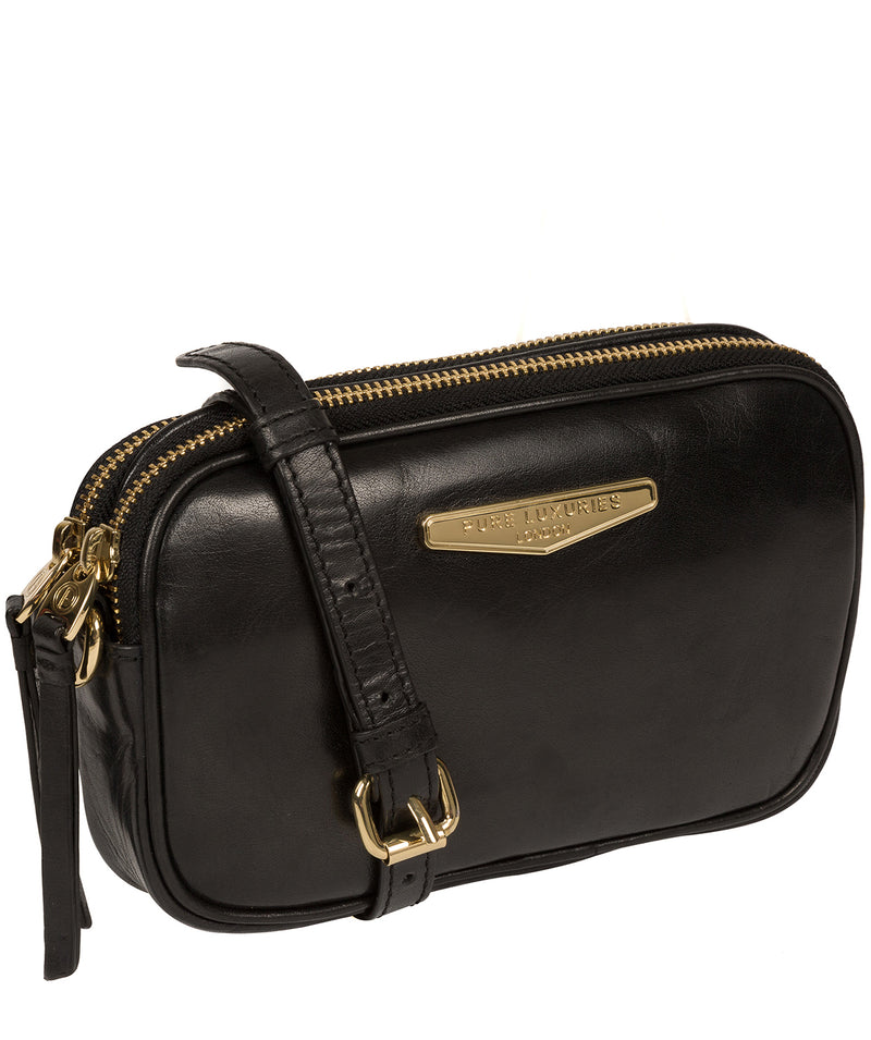 'Donatella' Black Leather Cross Body Bag image 5