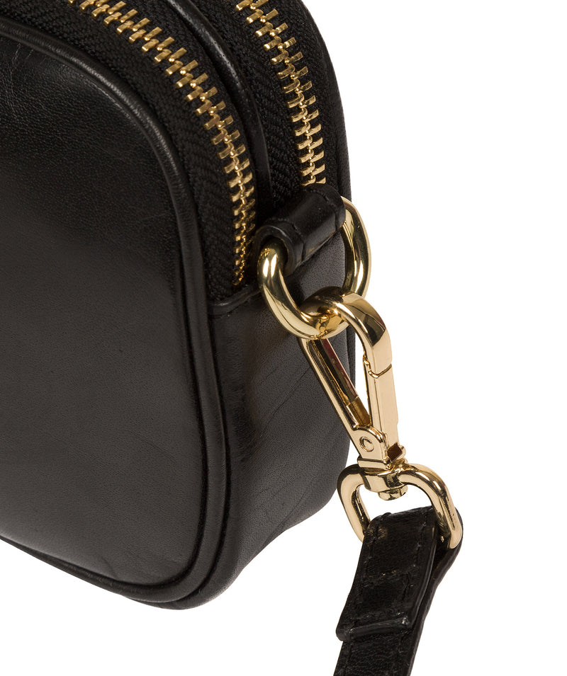 'Donatella' Black Leather Cross Body Bag image 6