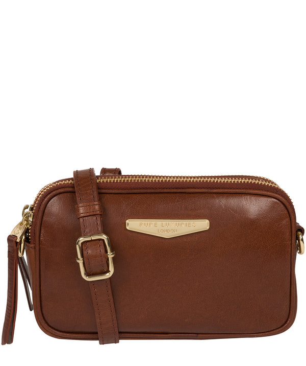 'Donatella' Brown Leather Cross Body Bag image 1