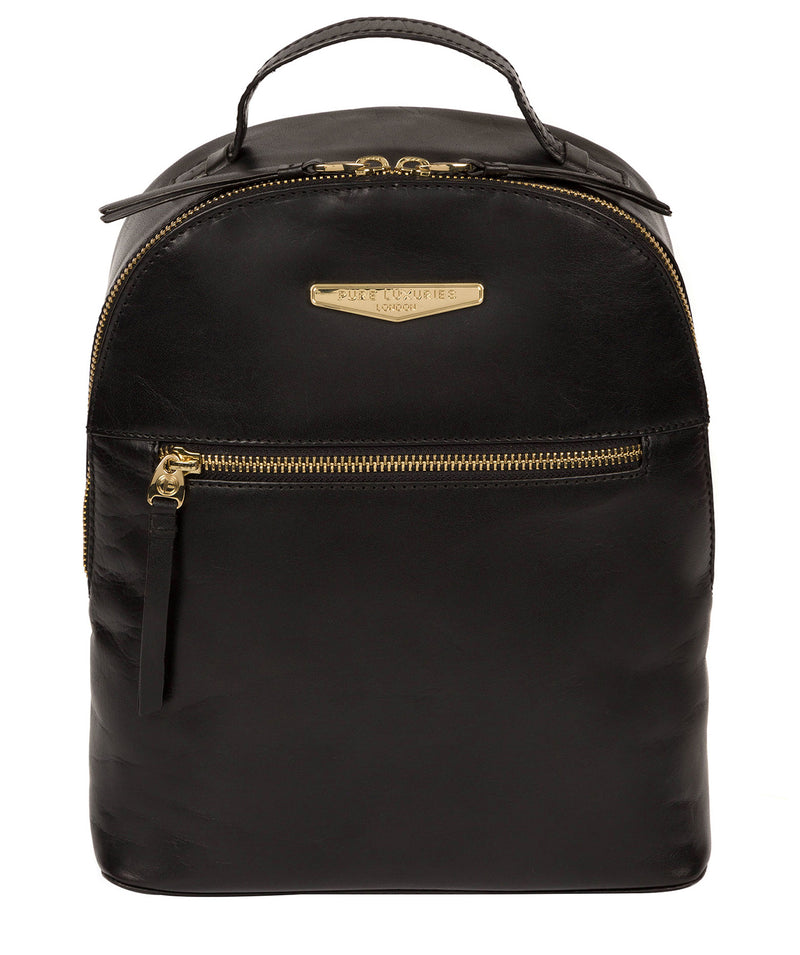 'Natala' Black Leather Backpack image 1
