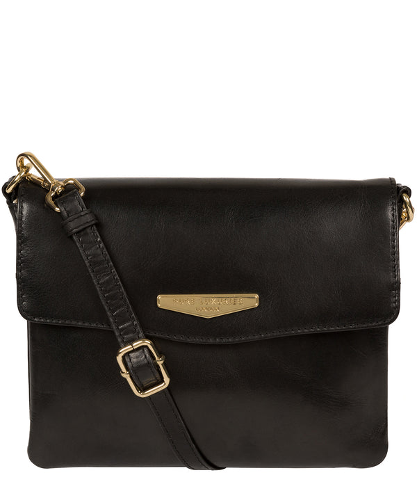 'Valeria' Black Leather Cross Body Bag image 1