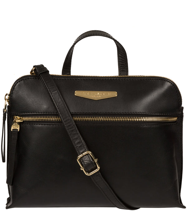 'Lauretta' Black Leather Cross Body Bag image 1