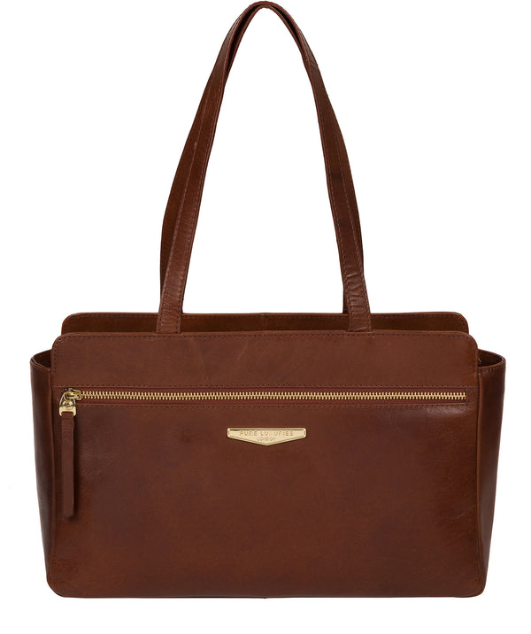 'Alessandra' Brown Leather Hand Bag image 1