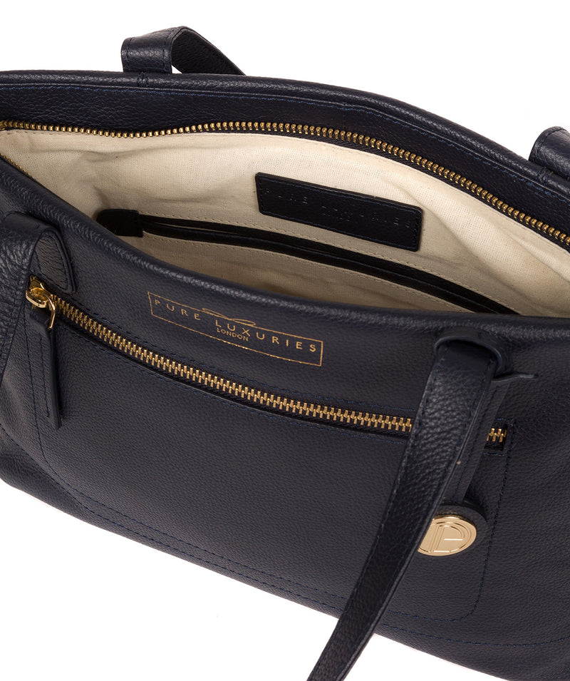 'Adley' Navy Leather Handbag image 4