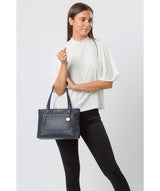 'Adley' Navy Leather Handbag image 7