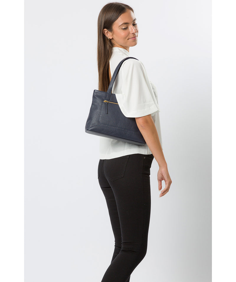 'Adley' Navy Leather Handbag image 2