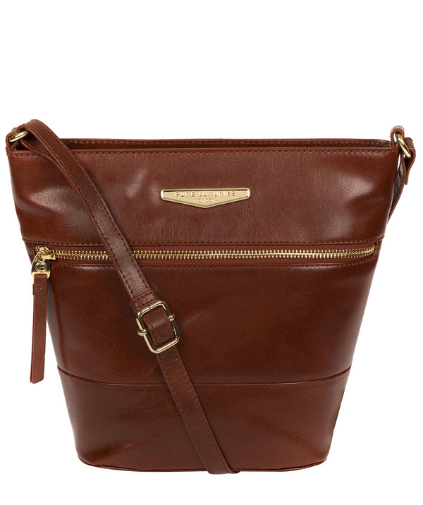 'Caterina' Brown Leather Cross Body Bag image 1