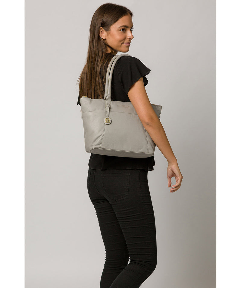 'Everly' Grey Leather Tote Bag image 2