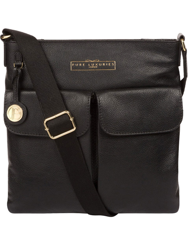 'Soames' Black Leather Cross Body Bag