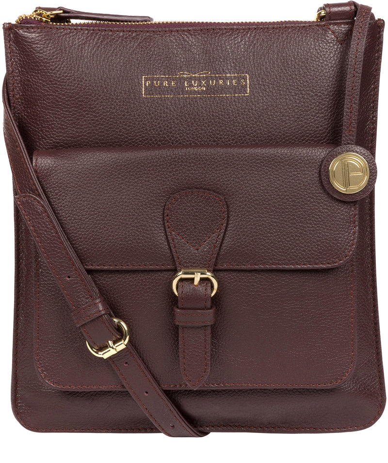 'Kenley' Plum Leather Cross Body Bag image 1