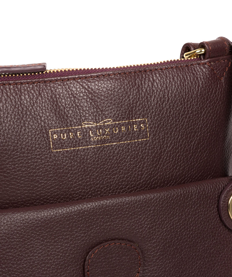 'Kenley' Plum Leather Cross Body Bag image 6