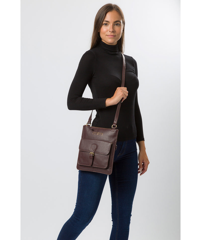 'Kenley' Plum Leather Cross Body Bag image 7