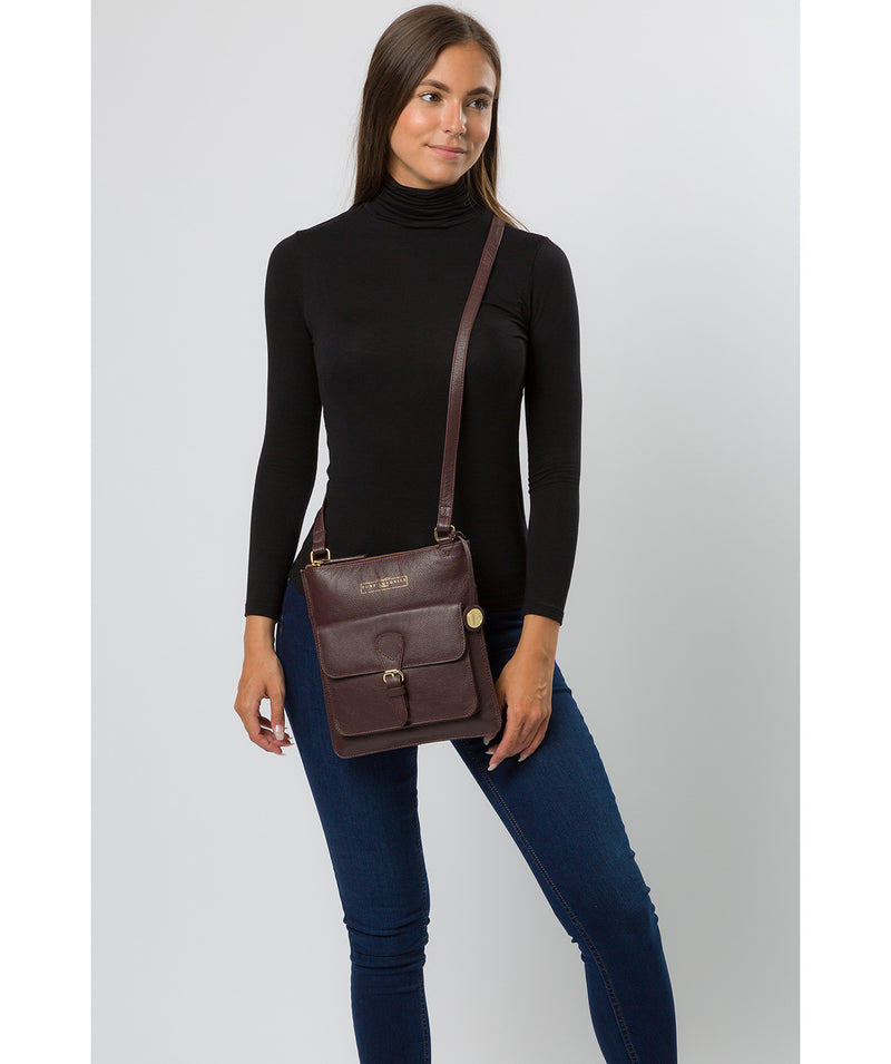 'Kenley' Plum Leather Cross Body Bag image 2