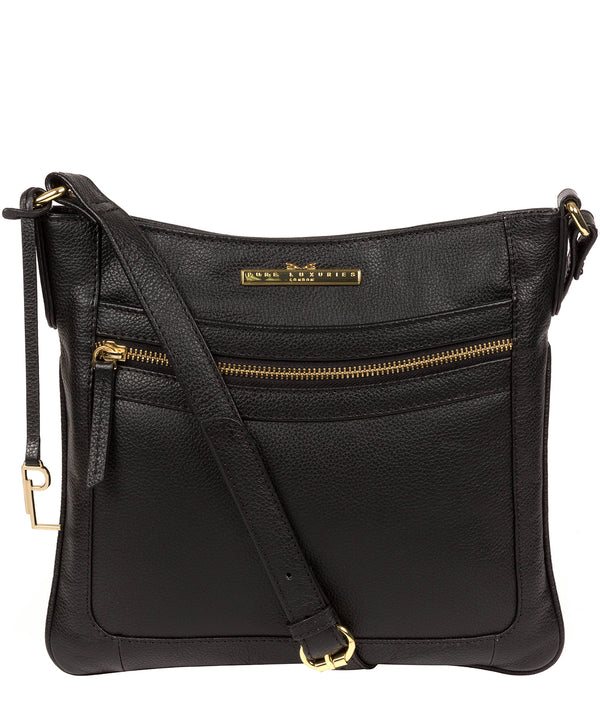 'Lewes' Black Leather Cross Body Bag Pure Luxuries London