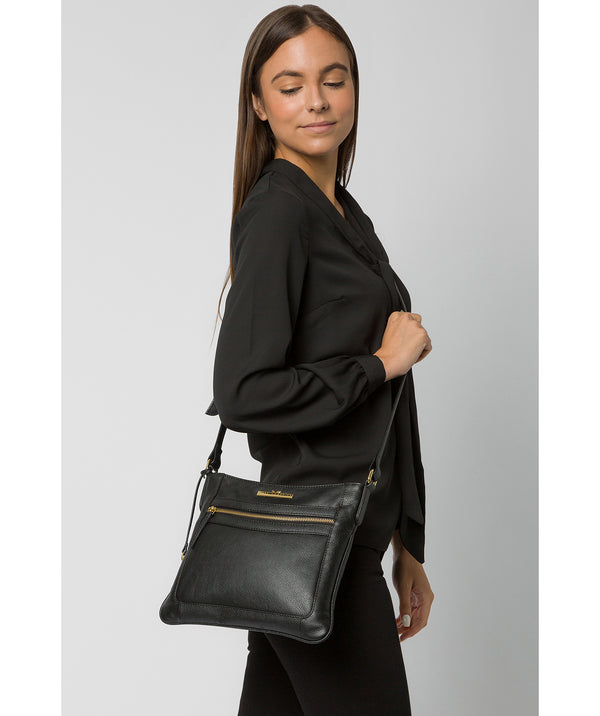'Lewes' Black Leather Cross Body Bag image 2