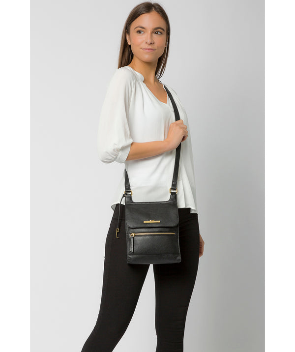 'Kempston' Black Leather Cross Body Bag Pure Luxuries London