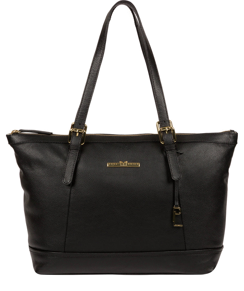 'Thame' Black Leather Tote Bag image 1