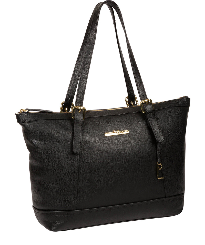 'Thame' Black Leather Tote Bag image 5