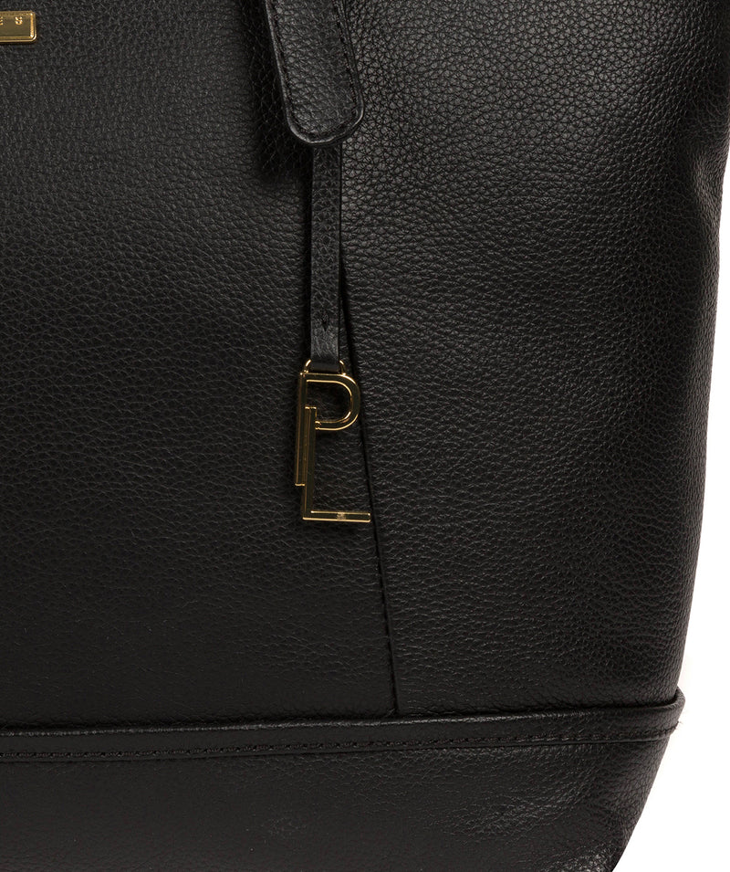'Thame' Black Leather Tote Bag image 6