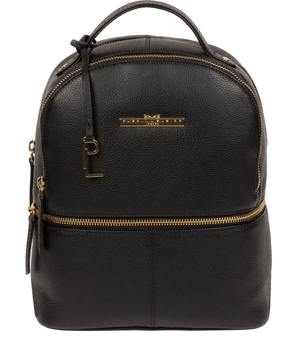 'Hayes' Black Leather Backpack image 1