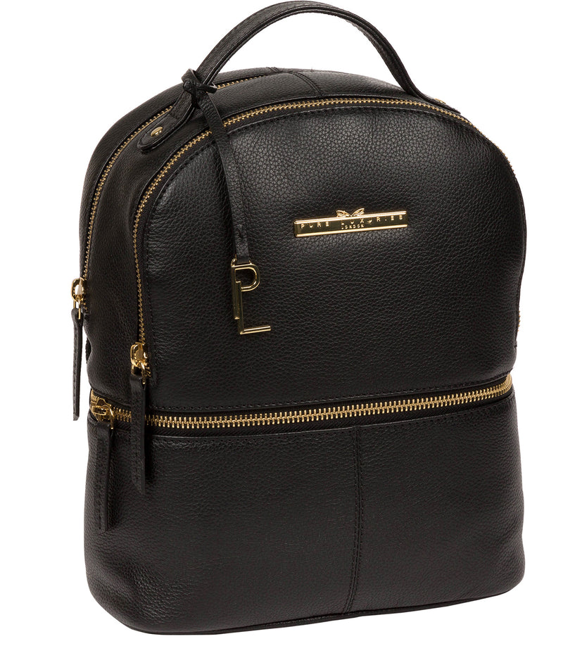 'Hayes' Black Leather Backpack image 5