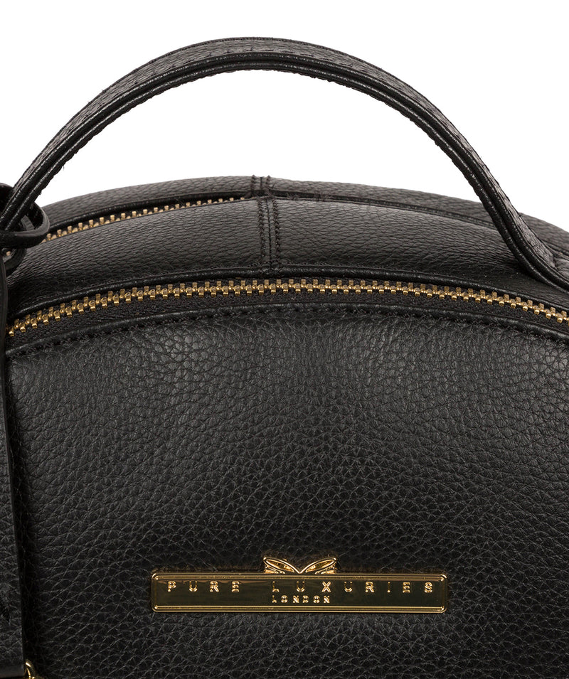 'Hayes' Black Leather Backpack image 7