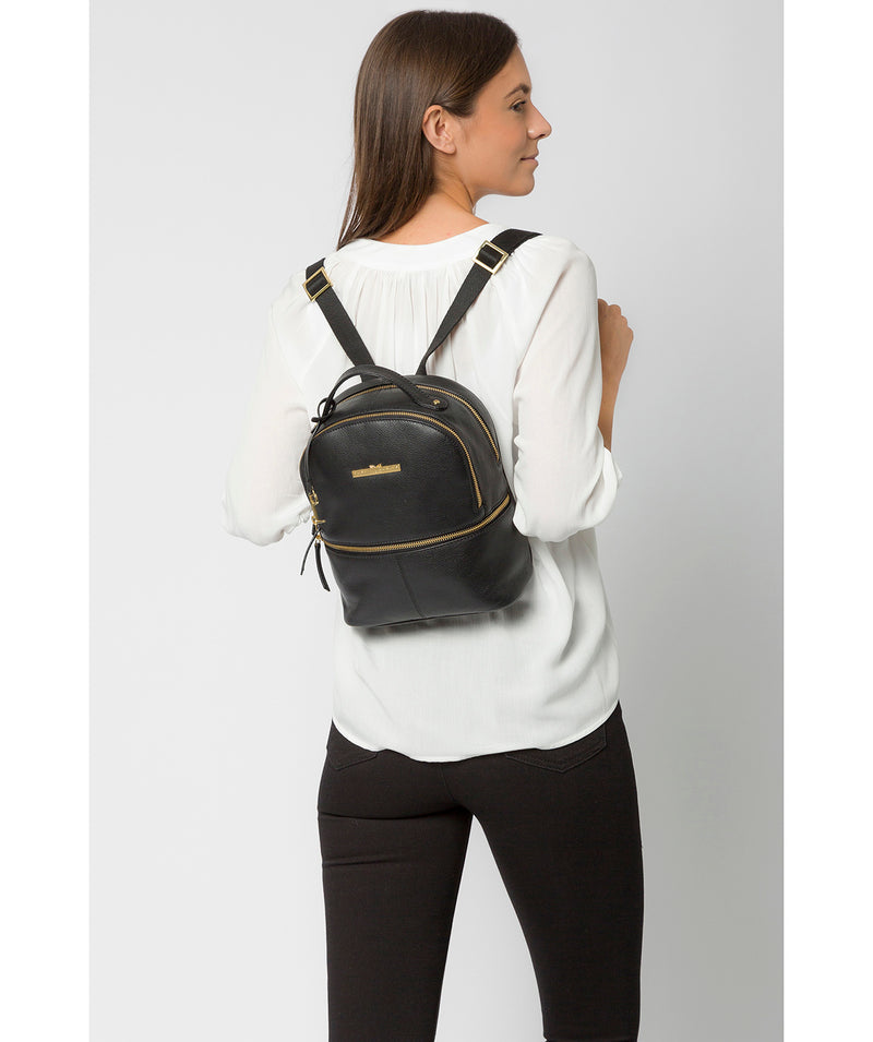 'Hayes' Black Leather Backpack image 2