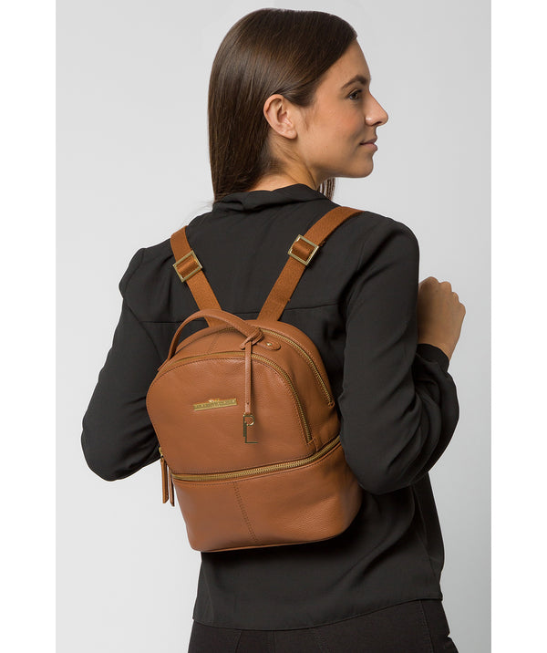 'Hayes' Tan Leather Backpack Pure Luxuries London