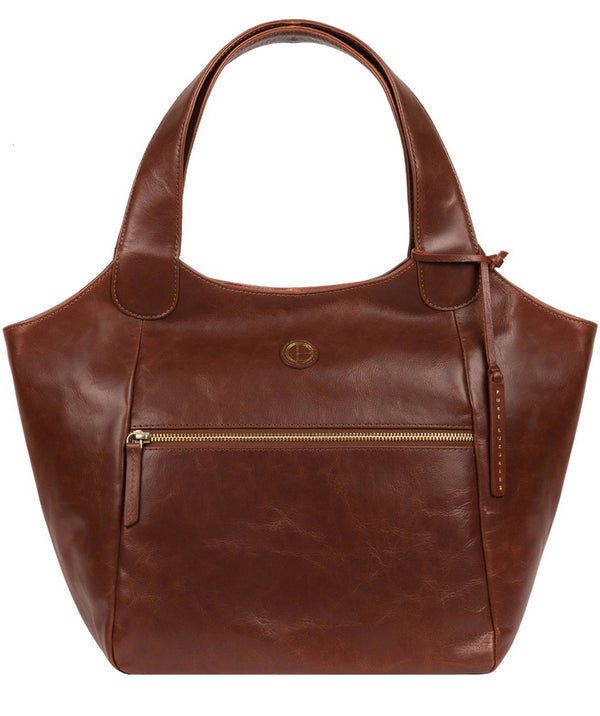 'Loxford' Vintage Cognac Leather Tote Bag image 1