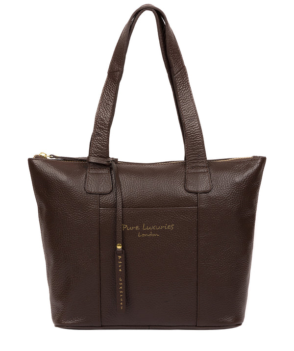 'Dem' Chocolate Leather Handbag Pure Luxuries London