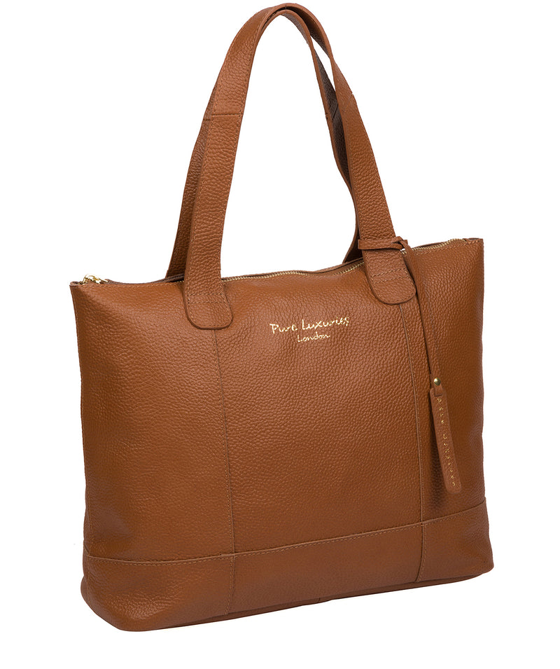 'Sachi' Tan Leather Tote Bag Pure Luxuries London