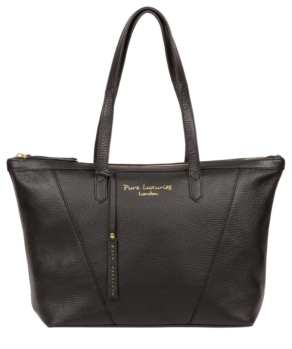 'Kelly' Black Leather Tote Bag Pure Luxuries London