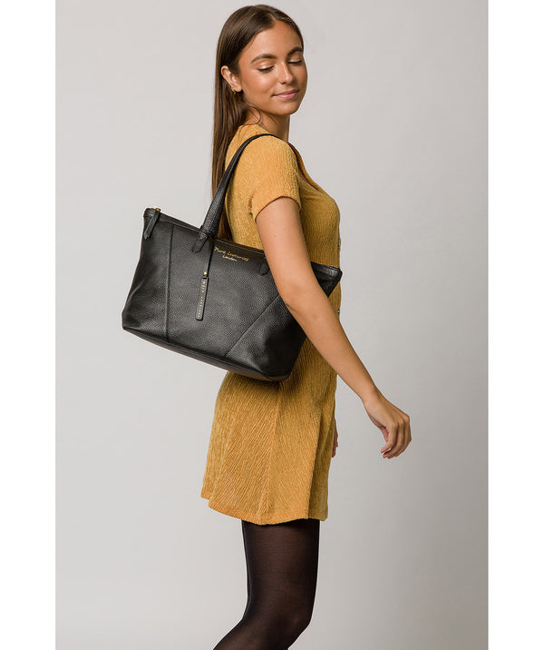 'Kelly' Black Leather Tote Bag image 2