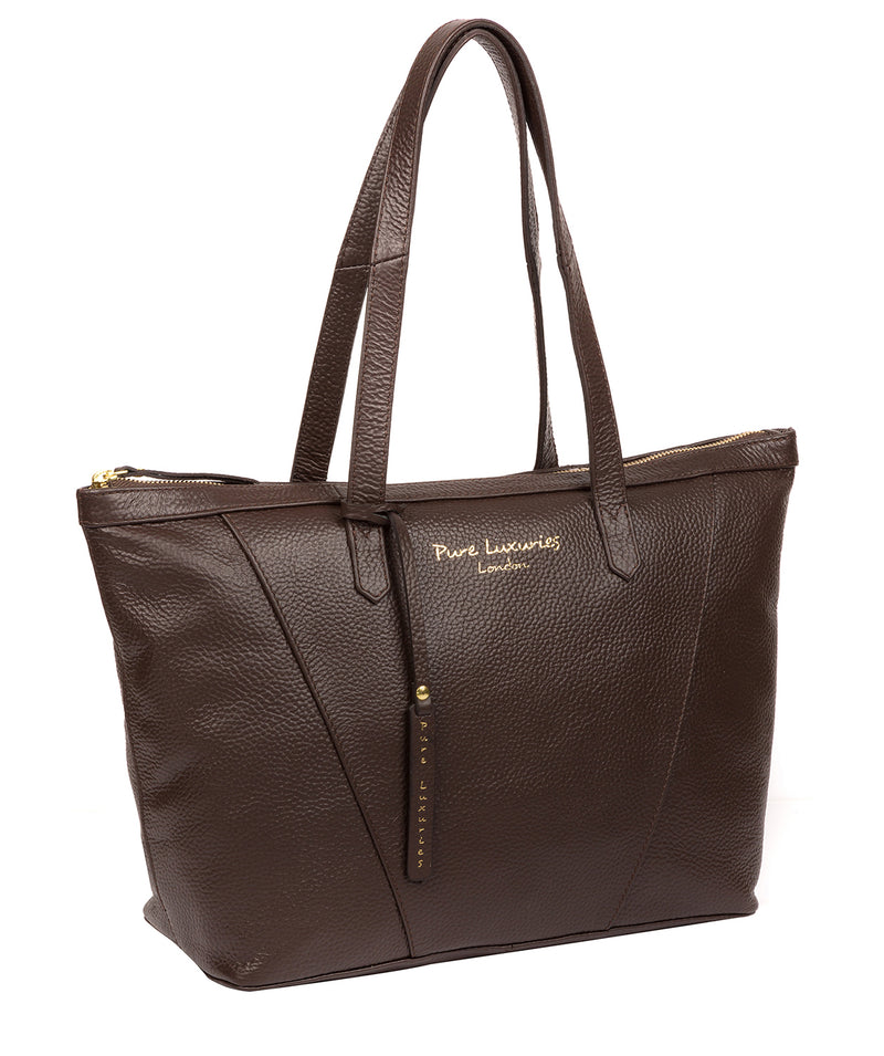 'Kelly' Chocolate Leather Tote Bag image 5