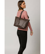 'Kelly' Chocolate Leather Tote Bag image 2