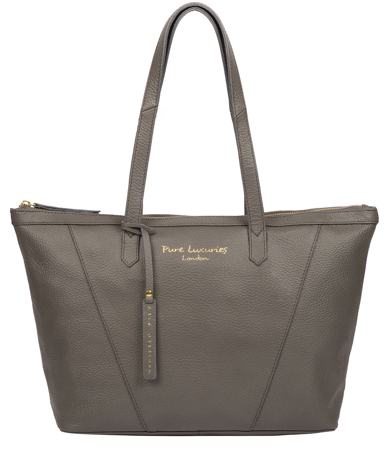 'Kelly' Grey Leather Tote Bag image 1