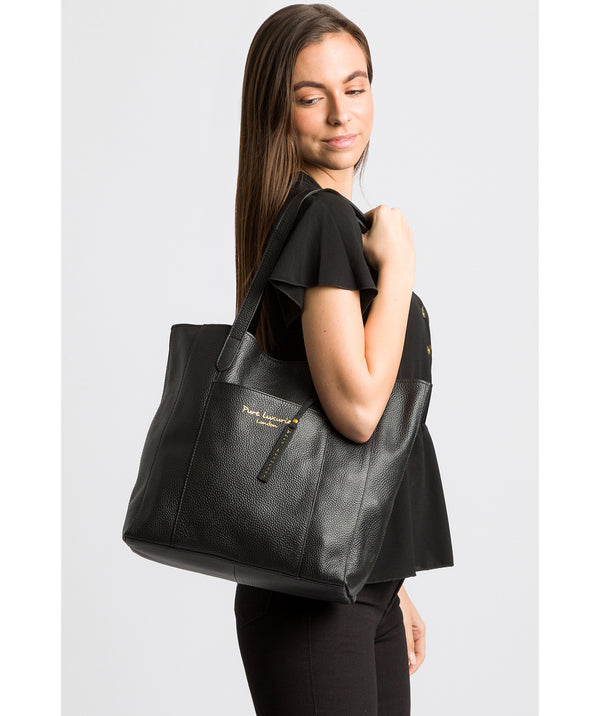 'Keisha' Black Leather Tote Bag image 2