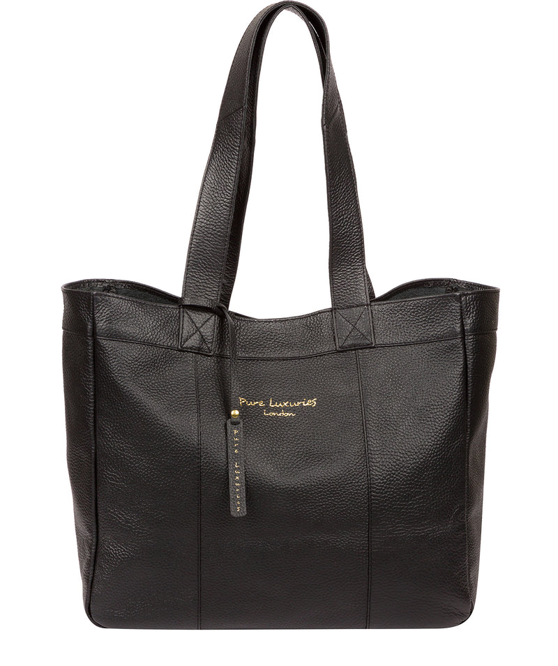 'Melissa' Black Leather Tote Bag  image 1