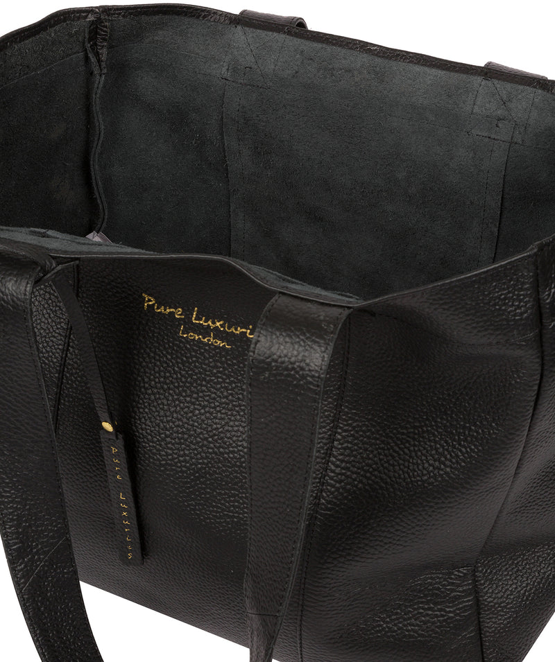 'Melissa' Black Leather Tote Bag  image 4