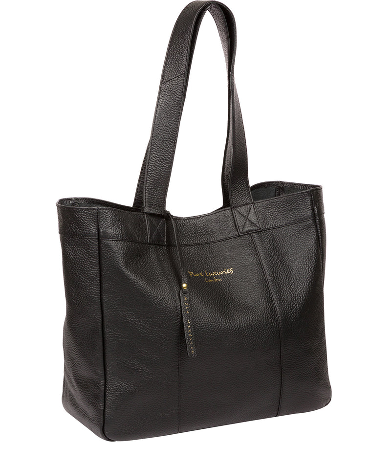 'Melissa' Black Leather Tote Bag  image 5