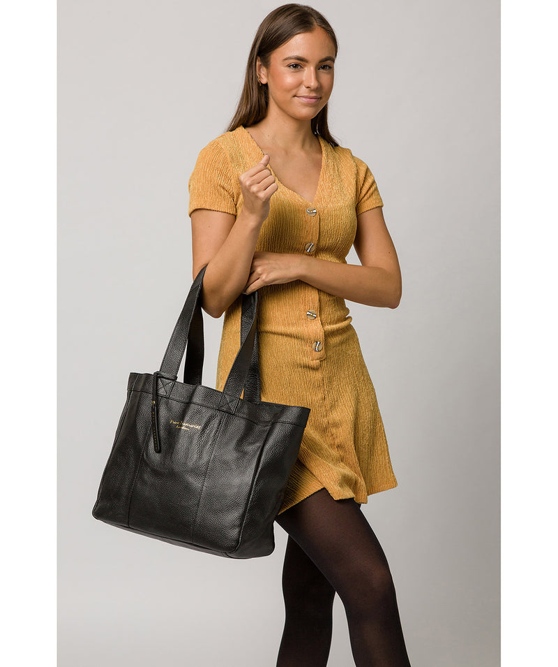 'Melissa' Black Leather Tote Bag  image 2