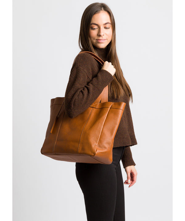 'Melissa' Tan Leather Tote Bag Pure Luxuries London