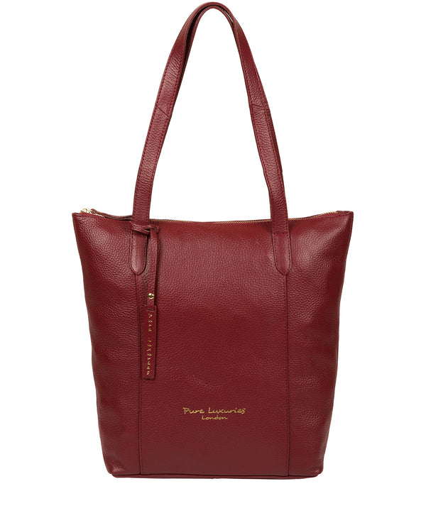 'Elsa' Red Leather Tote Bag image 1