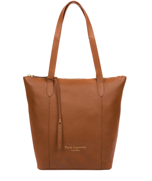 'Elsa' Tan Leather Tote Bag image 1