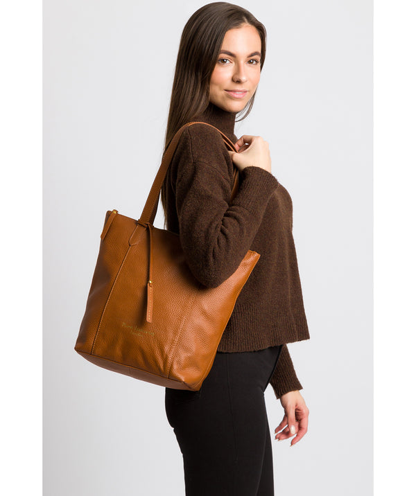 'Elsa' Tan Leather Tote Bag image 2