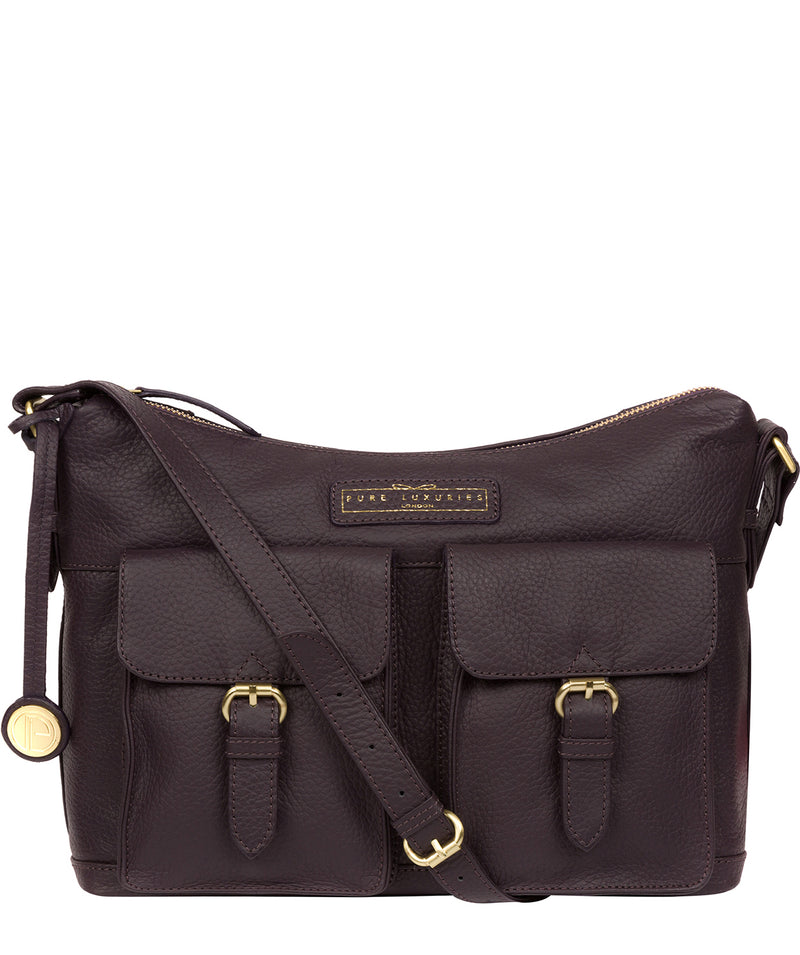 'Frinton' Plum Leather Shoulder Bag image 1