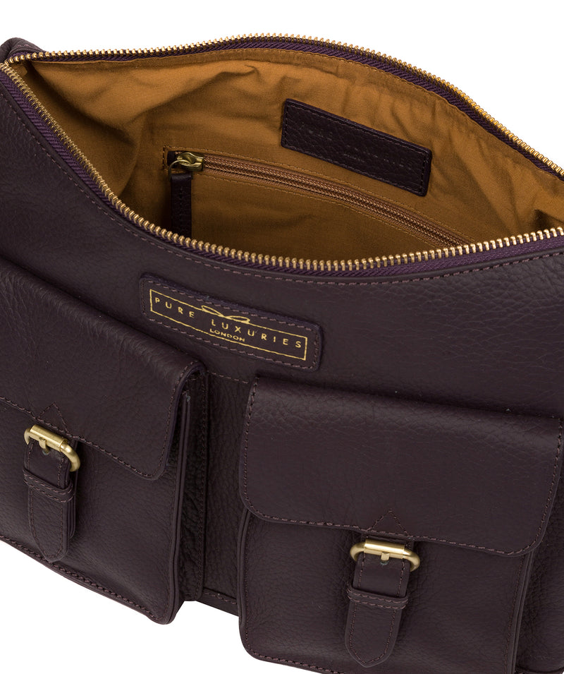'Frinton' Plum Leather Shoulder Bag image 4